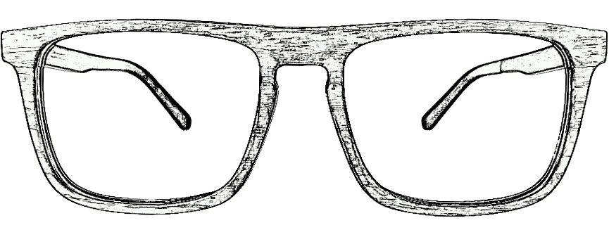 gezeichnete Holzbrille